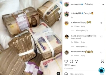 Bobrisky tensions fans with bundles of cash he received on his 30th birthday